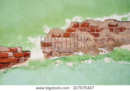 Fragment Of Tumbledown, Partly Plastered Brick Wall