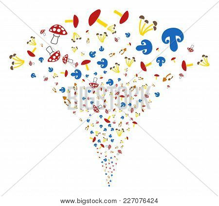 Mushrooms Explosion Fountain. Vector Illustration Style Is Flat Iconic Symbols. Object Fountain Made