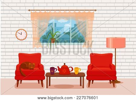 Colorful Vector Cozy Interior Illustration In Cartoon Flat Style. Window With Curtains, Armchair, Fl
