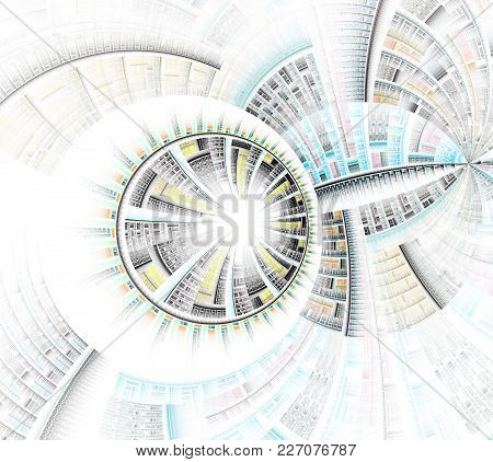 Abstract Fractal Wheel And Spokes Graphic. Abstract Symbols For Use With Projects On Mathematics, Sc