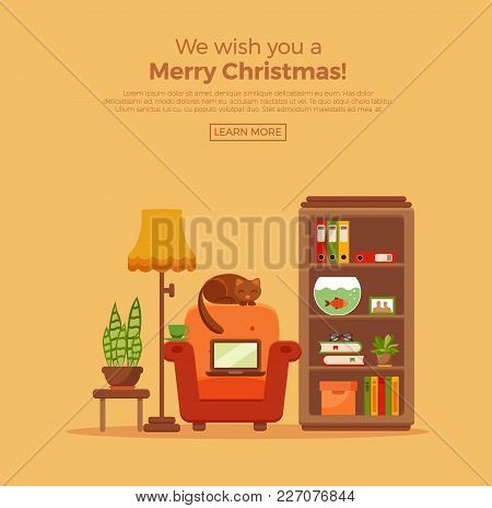 Vector Colorful Office Desk With Indoor Plants. Work Interior Design Elements:cat, Laptop, Indoor Pl