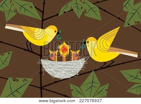 Bird Family. Parents Couple Feeding Hungry Newborn Baby Birds Sitting In Straw Nest. Cute Comic Cart