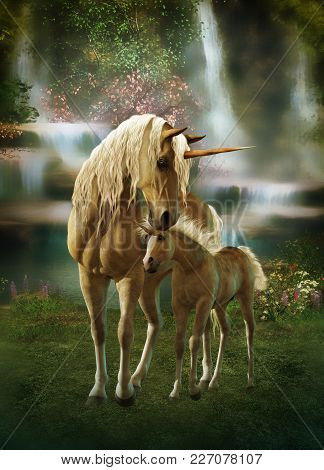 3d Computer Graphics Of Two Mythical Unicorns, Mother And Child