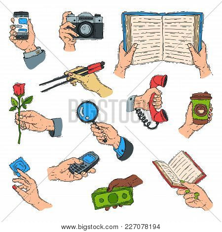 Sketch Hands Holdings Fingers Objects And Showing Items People Body Part Gesture Presentation Concep