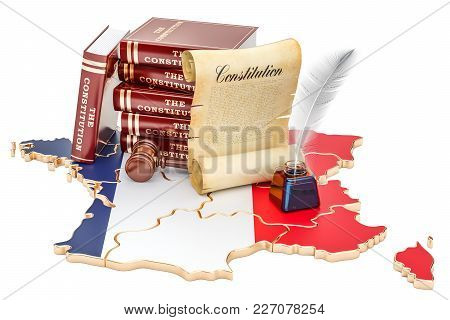 Constitution Of France Concept, 3d Rendering Isolated On White Background