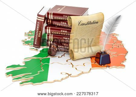 Constitution Of Ireland Concept, 3d Rendering Isolated On White Background