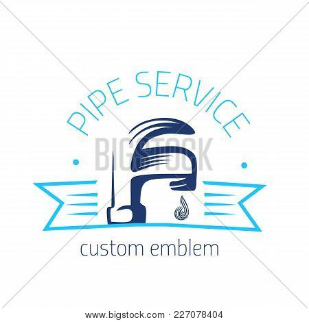 Vector Logo Of Plumbing Service In Simple Style. Can Be Used For Banners, Brochures