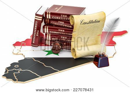 Constitution Of Syria Concept, 3d Rendering Isolated On White Background