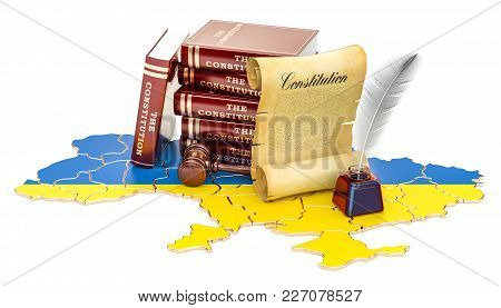 Constitution Of Ukraine Concept, 3d Rendering Isolated On White Background