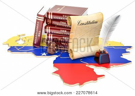 Constitution Of Venezuela Concept, 3d Rendering Isolated On White Background