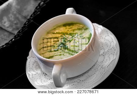 Macro Photo Of A Delicious Mashed Soup With Broccoli In A Restaurant
