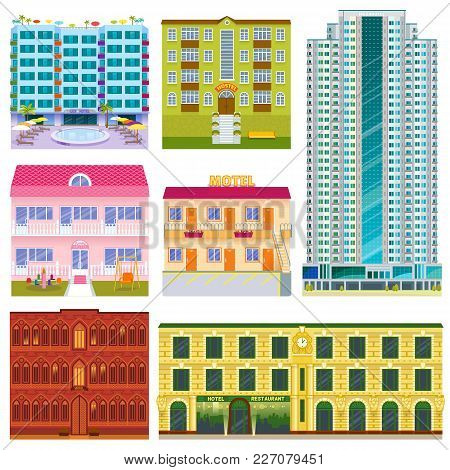 Different Buildings Hotels Facade Tourist Travelers Vacation Time Apartment Urban Town Vector Illust