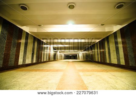 Underground Passage With Lights On Without People At Night.