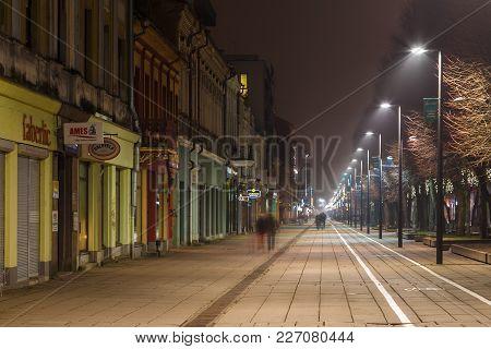 Panoramic View Of Laisves Aleja, Main Pedestrian Street In Kaunas Old Town.