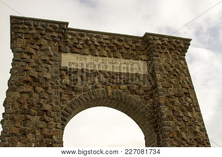 Insignia Over  Roosevelt Gate, Yellowstone National Park