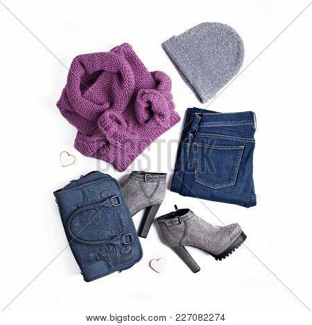 Stylish Women's Clothing In Street Style.