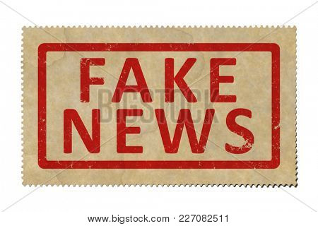 An illustration of a stamp with the text fake news