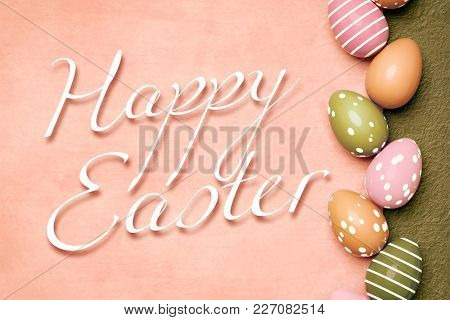 3d illustration of a beautiful colored eggs easter background