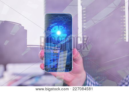 Businessman Hand Using Smartphone With Digital Chart On Screen. Technology, Accounting And Report Co
