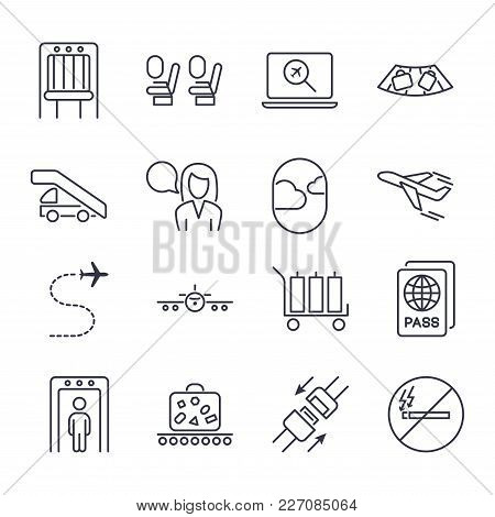 Airport Icon Set. Universal Airport And Air Travel Icons Airplane, Baggage, Boarding, Flight, Passpo
