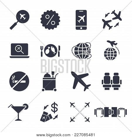 Airport And Airplane Elements Icons Set. Delivery Icons Universal Set For Web And Mobile. Plane, Sea