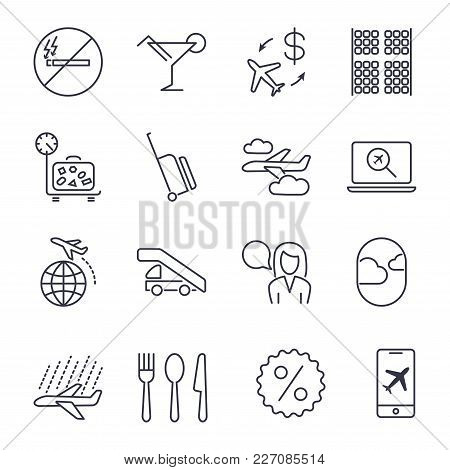 Plane Icons Set. Set Of 16 Plane Outline Icons Such As Luggage, Weight, Airport. Icon Set With Edita