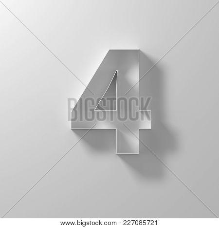 4, four,  white paper number, 3d illustration