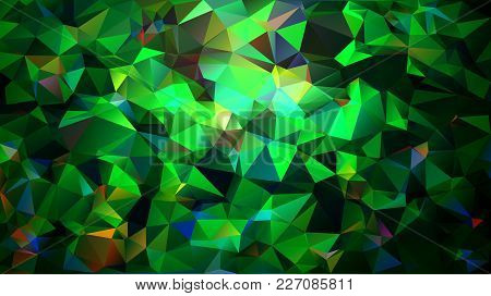 Abstract Low Poly Background Of Triangles In Multicolored, Cold, Green Colors. Substrate For Design.