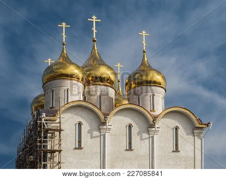 Construction Of The Orthodox Church. The Holy Ascension Church Of The Elizaveta Monastery In Kropyvn