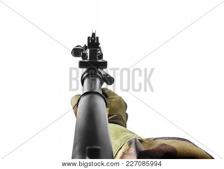 Vr First Person View Of A Soldier Hand Holding Automatic Rifle Front View.