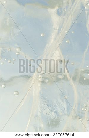 Background, Texture: Blue Stratum Of Ice With Bubbles And Cracks