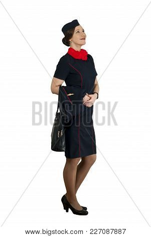 Stewardess On White Background Smiling Looks Afar And Up