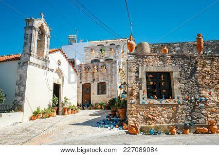 Crete, Greece, June 10, 2017: Traditional Cretan Village Margarites Famous For Handmade Ceramics, Cr