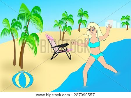 A Happy Girl Running In The Water By A Beach With Palm Trees, A Beach Chair, And A  Beach Ball.