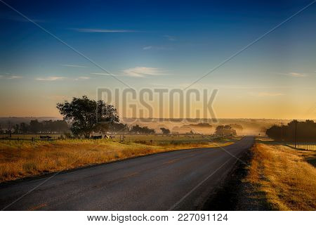 Road And Misty Sunrise On Farmland. Farm Pasture Field With Cows Covered With Layers Of Fog