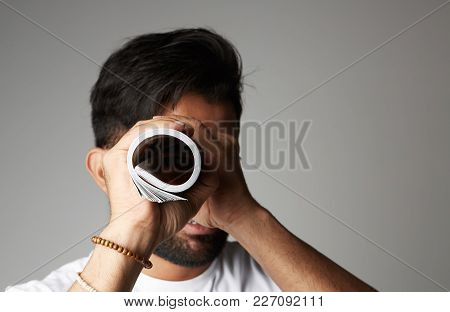 Businessman Looking Or Searching For Success. White Background