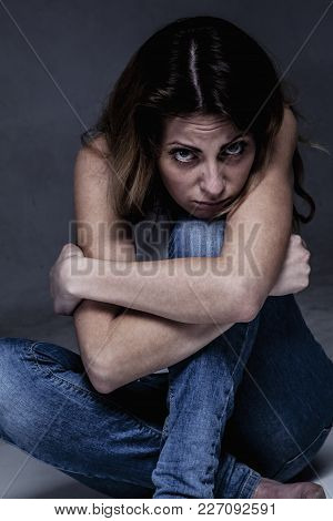 Body Language Of The Womanl As A Symbol Of Loneliness And Depression. (negative Emotion, Gestures, P