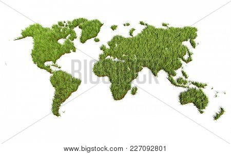 Green Grass World Map on White Background. Green Planet Concept. 3D Illustration.