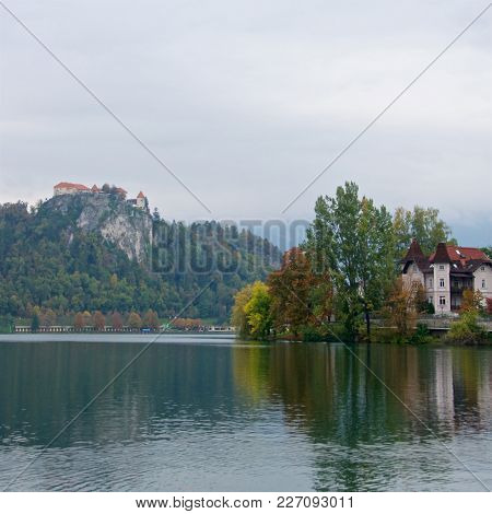 The City Of Bled Surrounding Lake Bled With Bled Castle On The Precipice