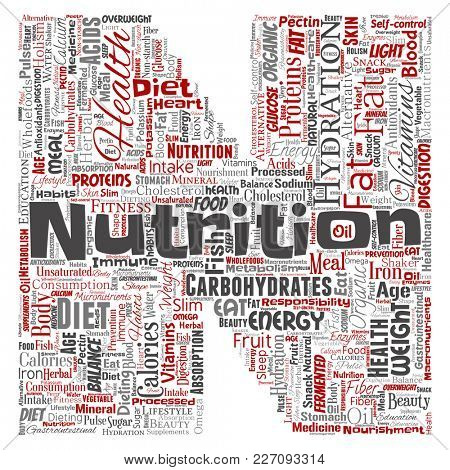 Conceptual nutrition health diet letter font N word cloud isolated background. Collage of carbohydrates, vitamins, fat, weight, energy, antioxidants beauty mineral, protein medicine concept