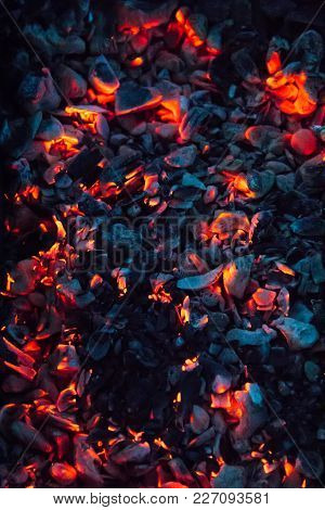 Bright Hot Coals And Burning Woods In Bbq Grill Pit. Glowing And Flaming Charcoal, Barbecue, Red Fir