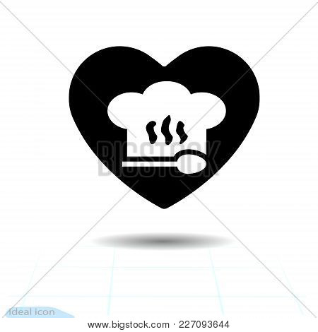 Chef Hat Sign Icon In Heart Valentines Day. Cooking Symbol. Cooks Hat. Flat Button With Shadow. Mode