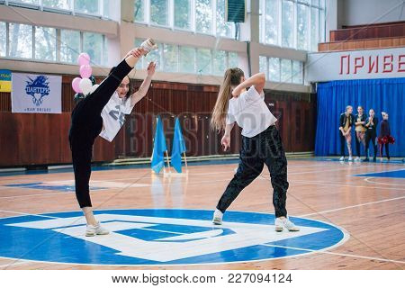 Kamenskoye, Ukraine - November 28, 2017: Championship Of The City Of Kamenskoye In Cheerleading Amon