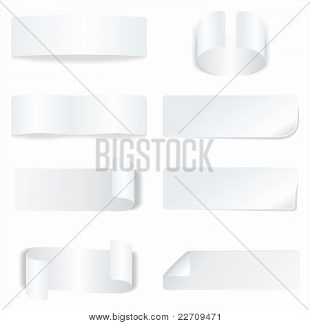 White paper labels and stickers