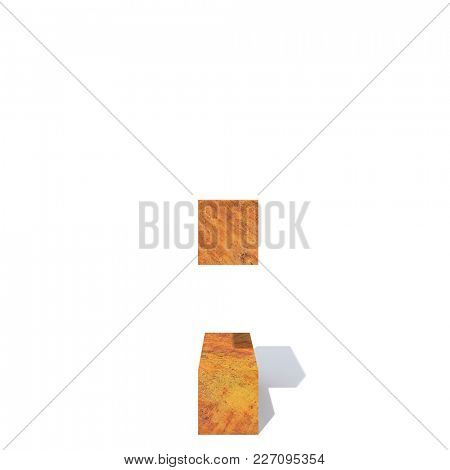 Conceptual old rusted metal font or type, iron or steel industry piece isolated white background. Educative rusty material, aged vintage surface, worn damaged object as 3D illustration rough surface