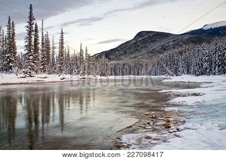 The Bow River In Banff National Park In Winter