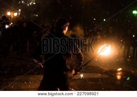 A Man With A Lighted Torch, A Fire Show, For All Purposes