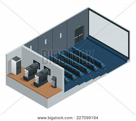 Isometric Vector Cinema Theater With Blank Screen. Includes Movie Projection Screen, Seats And Proje