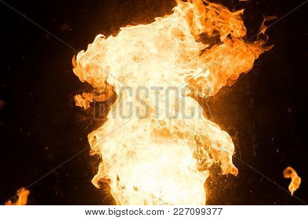 Bright Flash Of Fire, Against The Black Sky,for Any Purpose