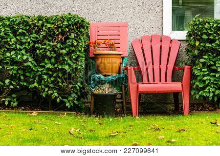 Single Red Patio Chair On The Backyard Fresh Green Lawn And Bushes